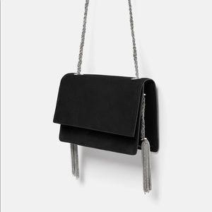Zara Black Suede Crossbody Bag